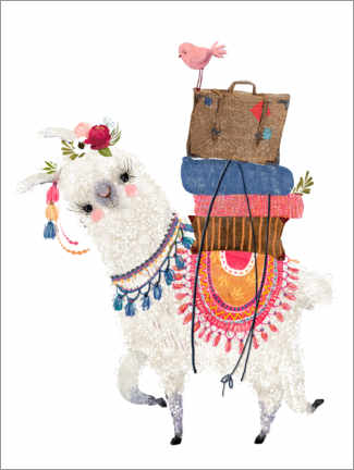 Premiumposter Llama with luggage