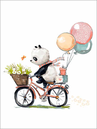 Canvastavla  Panda on a bike - Kidz Collection