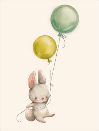 Canvastavla  Bunny with balloons - Kidz Collection