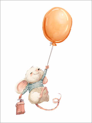 Canvastavla  Mouse with balloon - Kidz Collection