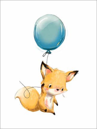 Canvastavla  Little fox with balloon - Kidz Collection