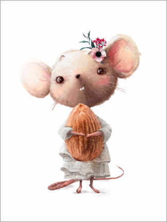Canvastavla  Mouse with almond - Kidz Collection