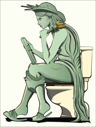 Premiumposter Statue of Liberty on the toilet