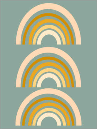 Premiumposter  Rainbow geometry - apricot and birch