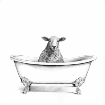 Canvastavla  Sheep in the tub - Victoria Borges