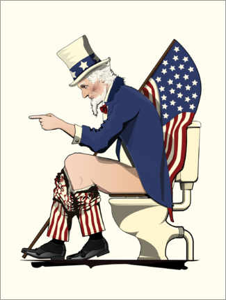 Premiumposter Uncle Sam on the toilet