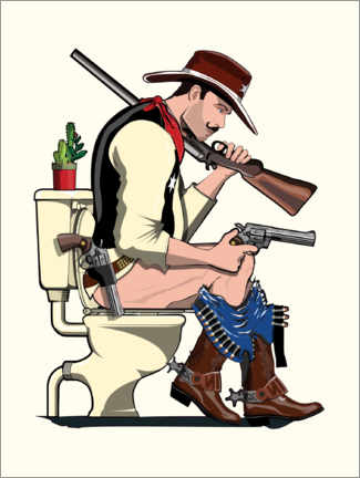 Premiumposter Cowboy on the toilet
