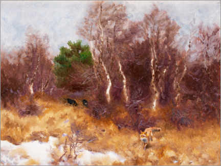 Premiumposter Forest landscape with fox and dogs
