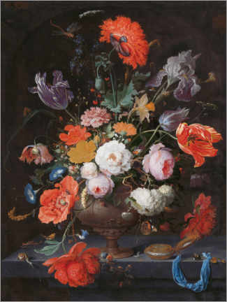 Premiumposter Still life with flowers and a clock