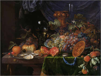 Premiumposter Still life with fruit and oysters