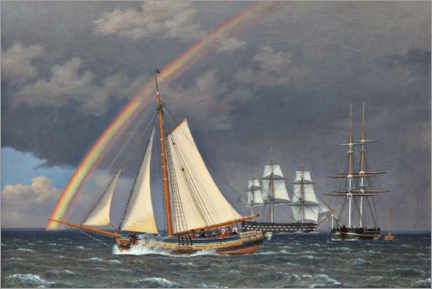 Canvastavla  Rainbow at sea with some cruising ships - Christoffer Wilhelm Eckersberg