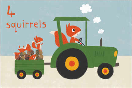 Premiumposter  Squirrel driving tractor - Lucy Barnard