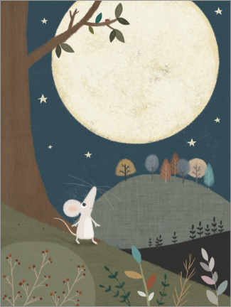 Canvastavla  The little mouse and the moon - Lucy Barnard