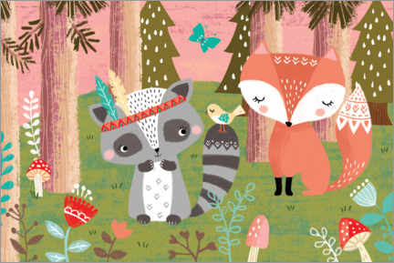 Premiumposter  Fox and raccoon - Louise Anglikas