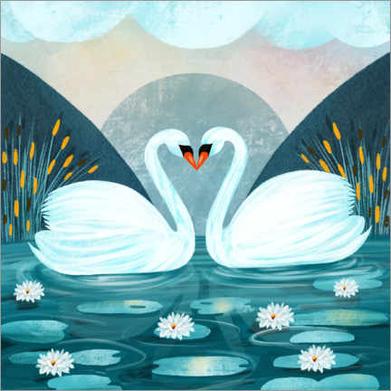 Canvastavla  Pair of swans - Grace Andersson