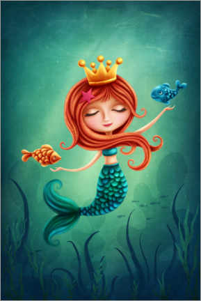 Premiumposter  Mermaid playing with fishes - Elena Schweitzer