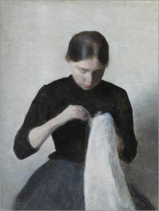 Premiumposter Young Girl Sewing