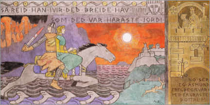Premiumposter  Åsmund and the princess on the way home - Gerhard Munthe