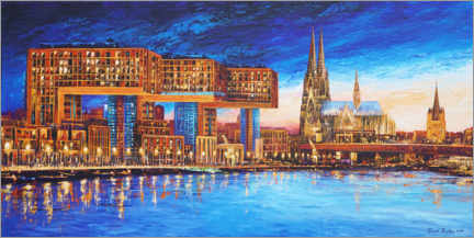 Canvastavla  Cologne crane houses at night - Renate Berghaus