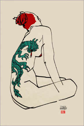 Canvastavla  Nude with dragon tattoo - Pieter Hogenbirk