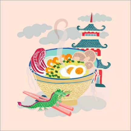 Premiumposter  Noodle bowl with little dragon - Elisandra Sevenstar