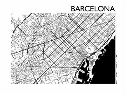Canvastavla  Map of Barcelona - 44spaces