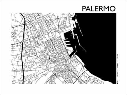 Premiumposter  Map of palermo - 44spaces