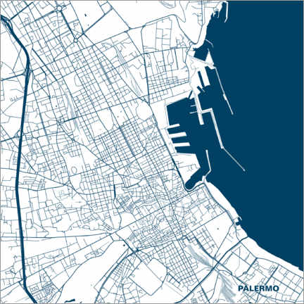 Premiumposter  Map of Palermo, Sicily - 44spaces