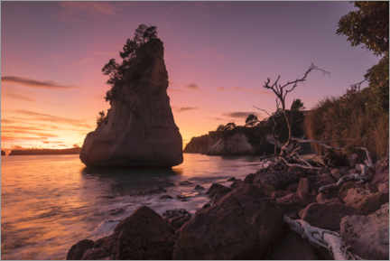 Premiumposter Cathedral Cove at sunrise