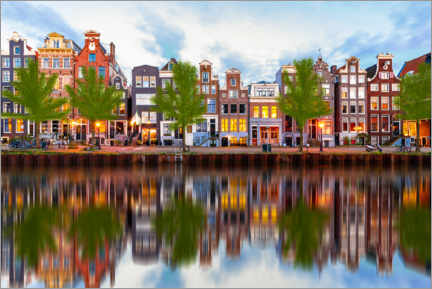 Premiumposter  Beautiful canal houses in Amsterdam, Holland - George Pachantouris
