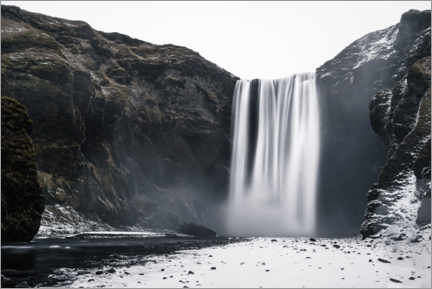 Premiumposter Waterfall in winter, Iceland
