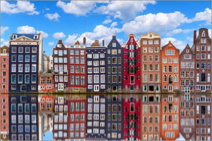 Premiumposter Houses are reflected on the canal, Amsterdam