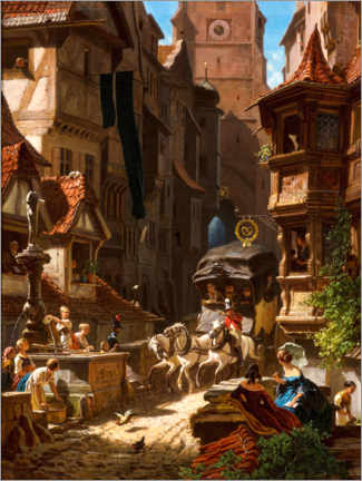 Premiumposter  Arrival of the stagecoach - Carl Spitzweg