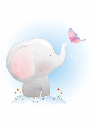 Canvastavla  Elephant and butterfly - Kidz Collection