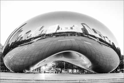 Canvastavla  Chicago Cloud Gate, black and white - HADYPHOTO