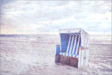 Premiumposter Blue beach chair
