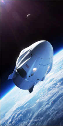 Premiumposter  SpaceX crew dragon in orbit - Spacex
