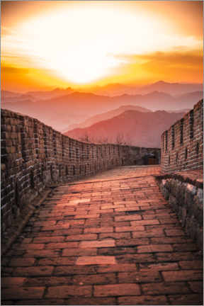 Premiumposter The Great Wall at the sunset