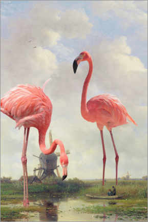 Canvastavla  Fishing with flamingos - Jonas Loose