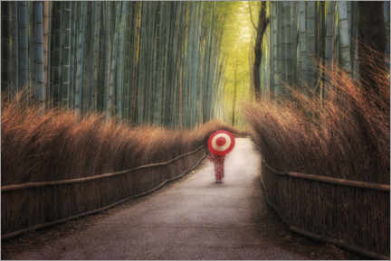 Premiumposter Japanese woman in the bamboo forest