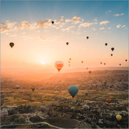 Galleritryck  Balloon flight in sunrise over Cappadocia - Marcel Gross
