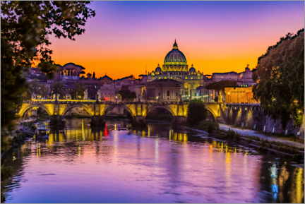 Premiumposter Angel Bridge and St. Peter's Basilica after sunset