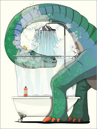 Canvastavla  Diplodocus shower - Wyatt9