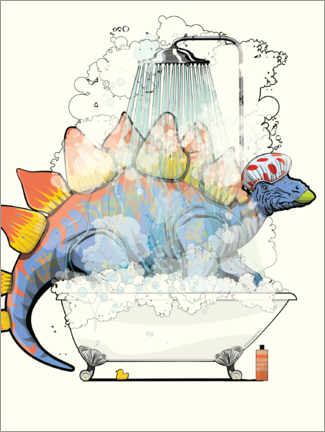 Premiumposter Stegosaurus shower