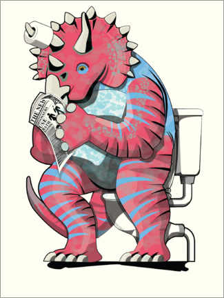 Canvastavla  Triceratops on the toilet - Wyatt9