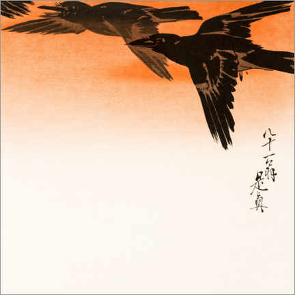 Premiumposter  Crows in flight in the red sunset sky - Shibata Zeshin