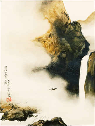 Premiumposter  Landscape with waterfall and bird - Shibata Zeshin