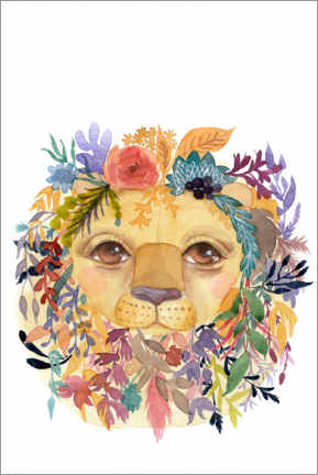 Premiumposter Lion with flowers