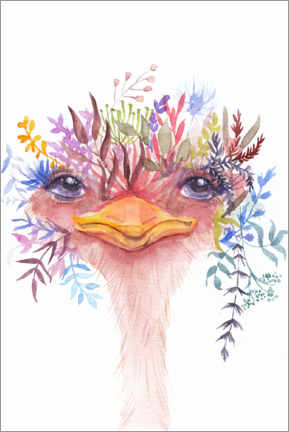 Premiumposter Emu with flowers