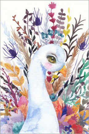 Premiumposter Peacock with flowers